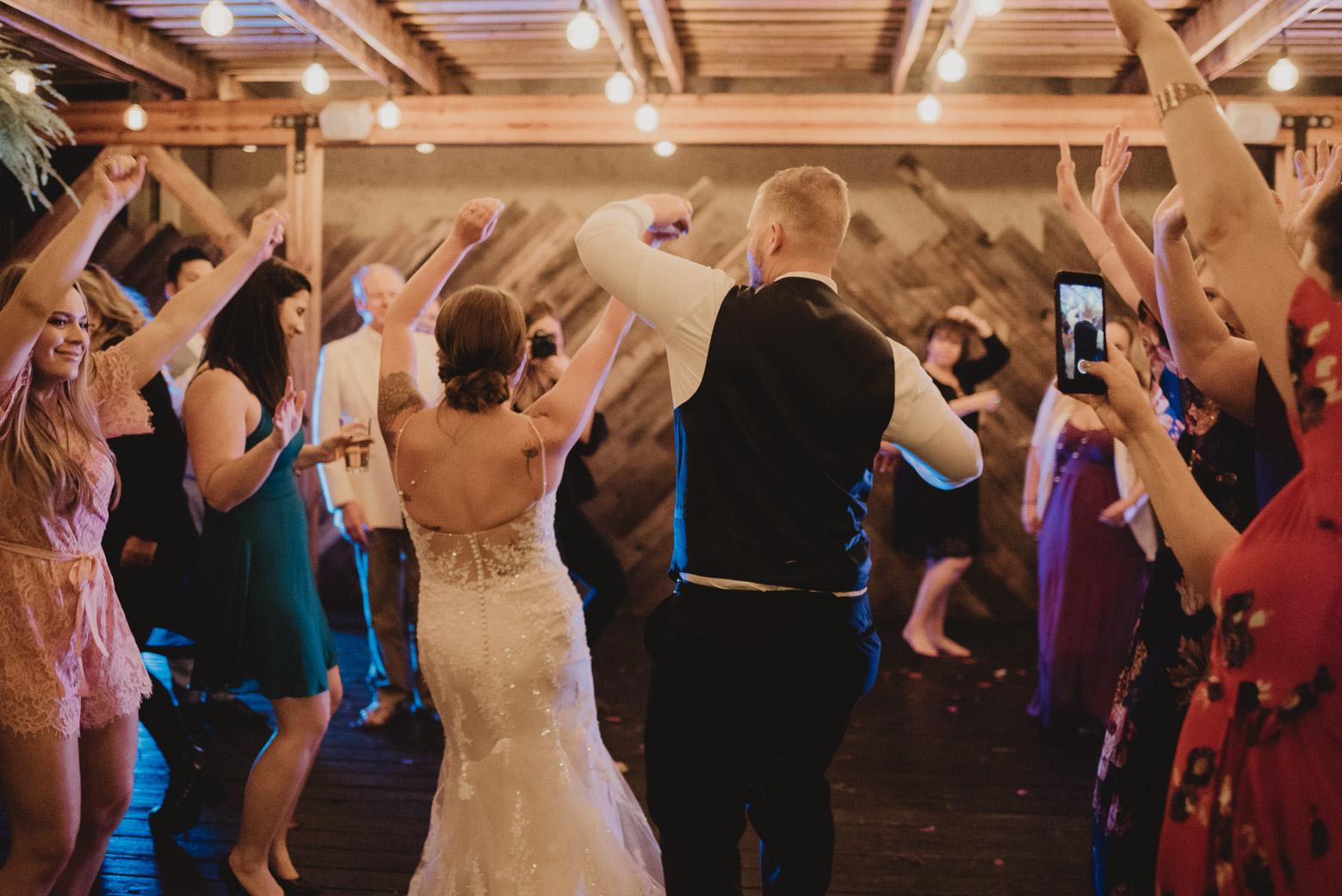 Groom and bridge dancing